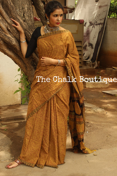 'Bagh' hand block printed saree in Cotton. TCB-CBGH1-P1