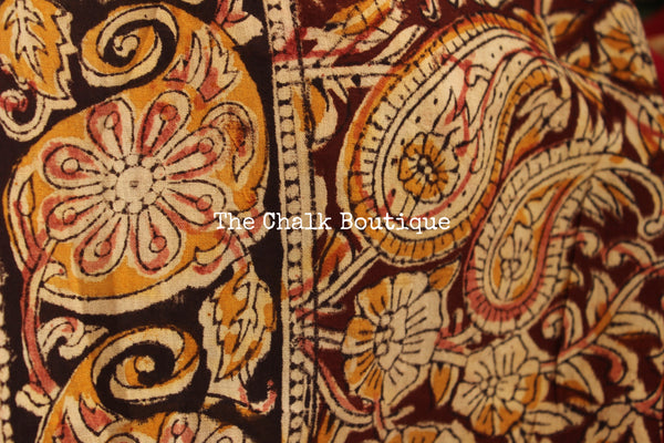 | Ramya | Deep Pink soft hand block printed cotton Kalamkari Saree.