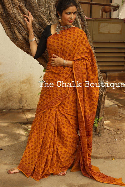 Deep Mustard 'Bagh' hand block printed saree in Cotton. TCB-CBGH3-P1