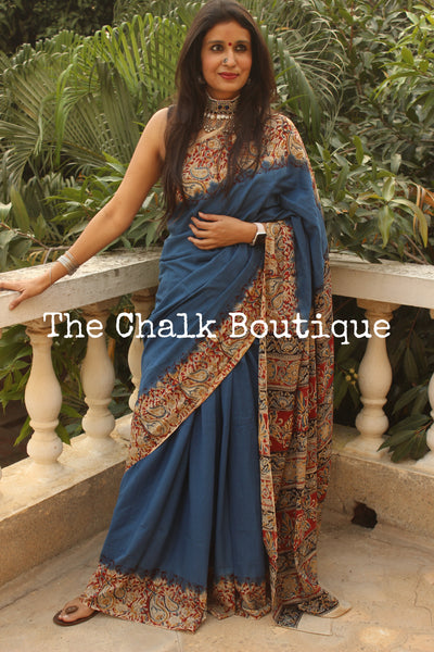 | Lataa | Blue soft hand block printed cotton Kalamkari Saree.