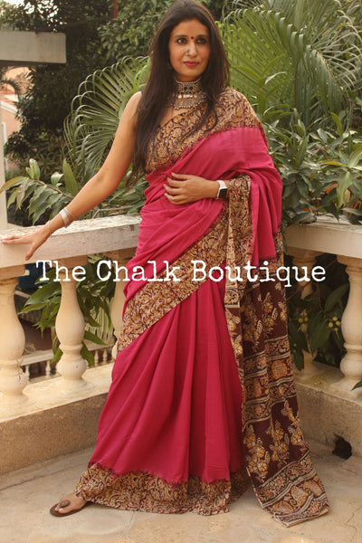 | Sudha | Pink soft hand block printed cotton Kalamkari Saree.