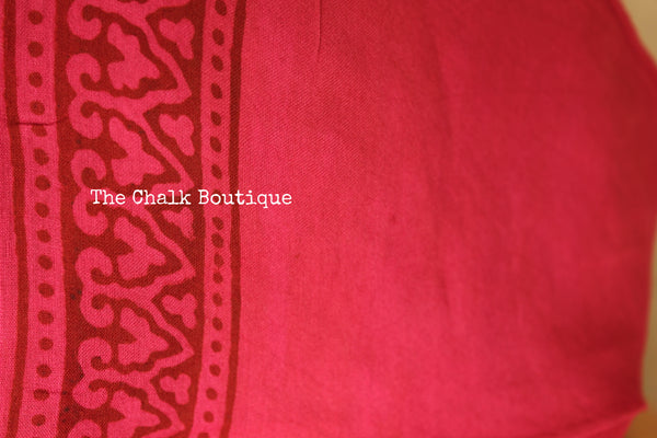 Deep Pink 'Bagh' hand block printed saree in Cotton. TCB-CBGH4-P1