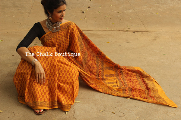 Sunset Yellow 'Bagh' hand block printed saree in Cotton. TCB-CBGH5-P1