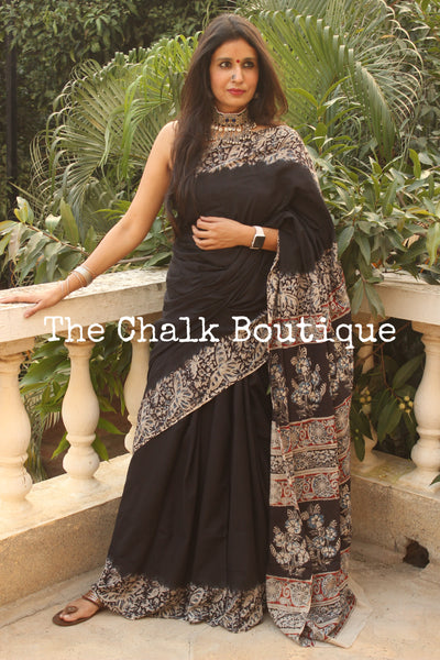 | Kajrare | Black soft hand block printed cotton Kalamkari Saree.