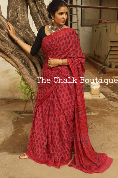 Pink Sorbet 'Bagh' hand block printed saree in Cotton. TCB-CBGH6-P1