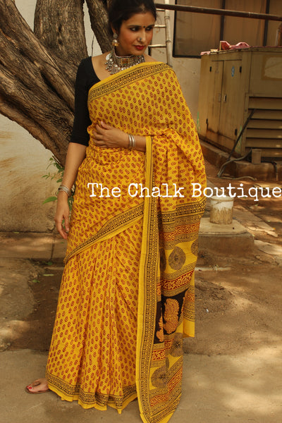 Mellow Yellow 'Bagh' hand block printed saree in Cotton. TCB-CBGH7-P1