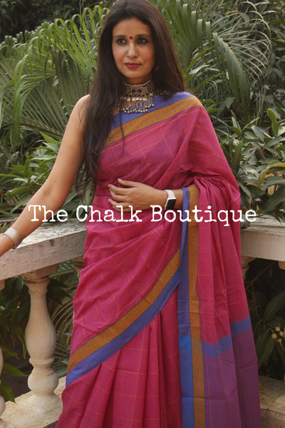 Pink Checked Handloom Cotton Saree with contrast Border.