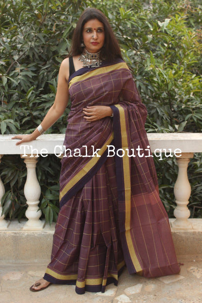 Purple Checked Handloom Cotton Saree with contrast Border.