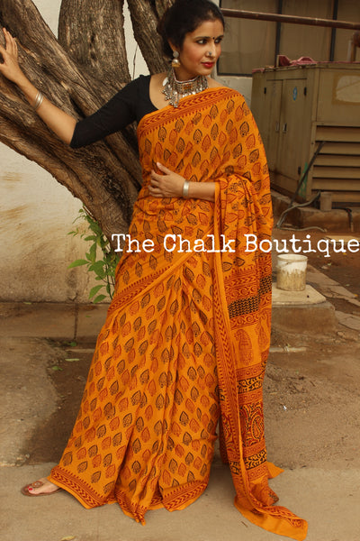 Tyohar ( Festival). 'Bagh' hand block printed saree in festive yellow. TCB-CBGH9-P1