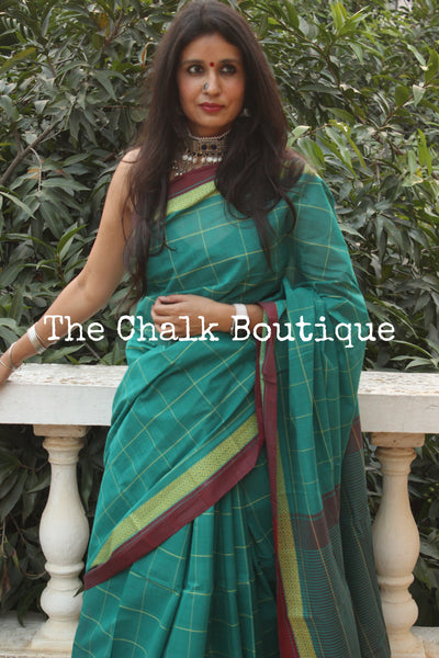 Sea green Checked Handloom Cotton Saree with contrast Border.