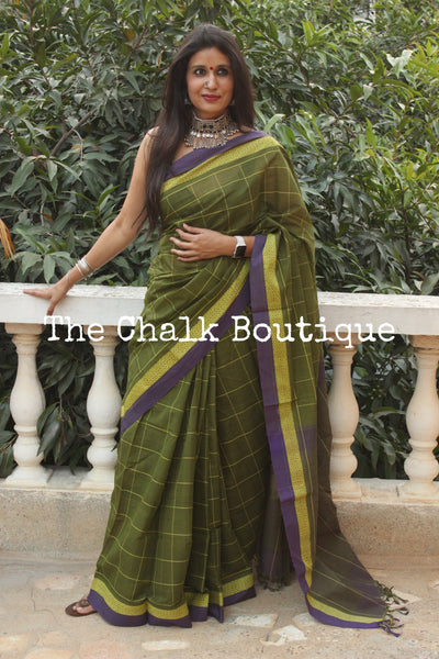 Mehendi Green Checked Handloom Cotton Saree with contrast Border.