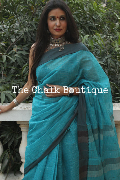 Blue Handloom Cotton Saree with contrast Border.