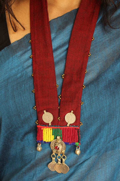 Collar necklace with antique afghan german silver pendant.