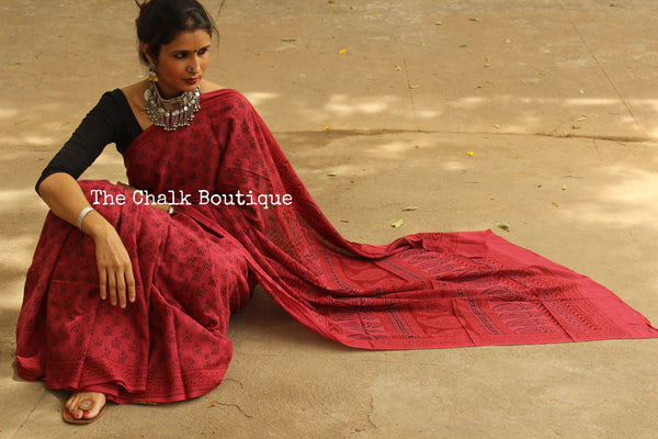 Pink Candy Crush. 'Bagh' hand block printed saree in cotton. TCB-CBGH12-P1