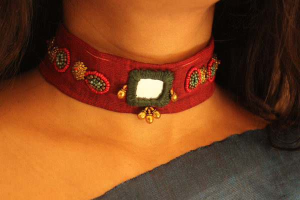 Maroon Fabric embroidered choker