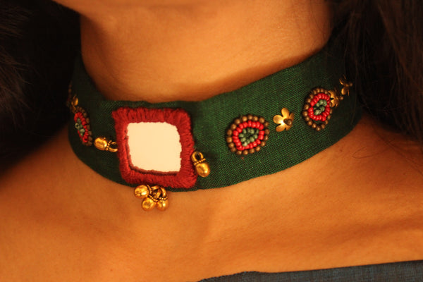 Green Fabric embroidered choker