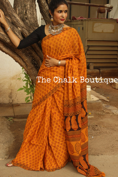 Apricots and Flowers. 'Bagh' hand block printed saree in cotton. TCB-CBGH15-P1