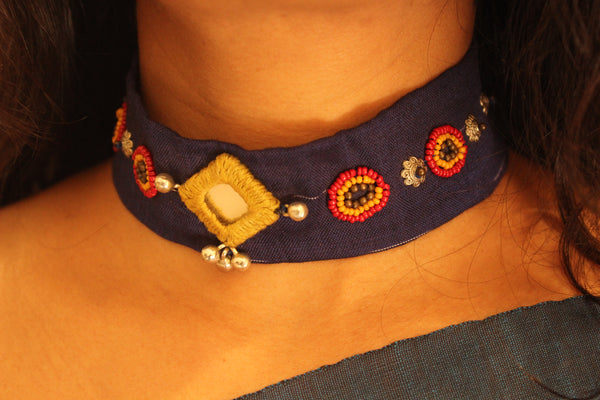 Blue Fabric embroidered choker