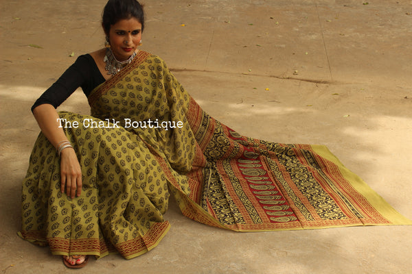 Mossy Road. 'Bagh' hand block printed saree in military green. TCB-CBGH16-P1