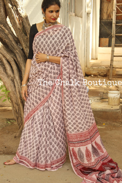 White Chocolate. 'Bagh' hand block printed saree in cotton. TCB-WBGH2-P1-The Chalk Boutique