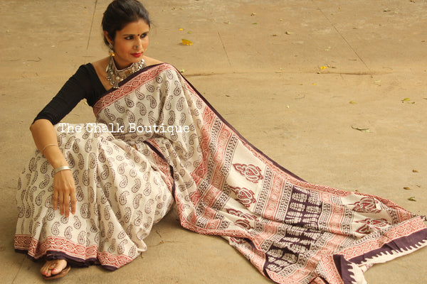 Shining Stars. 'Bagh' hand block printed saree in cotton. TCB-WBGH3-P1