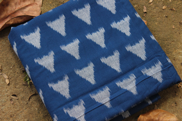 Blue Ikat blouse fabric in handwoven cotton. TCB-BP-2003