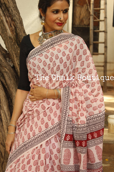 | Wild Mushrooms | 'Bagh' hand block printed saree in cotton. TCB-WBGH5-P1-The Chalk Boutique