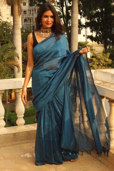 | Happy Birds | Blue Pure cotton Saree with tasseled pallu.