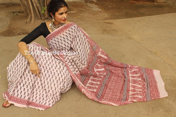 | Rustling Leaves | 'Bagh' hand block printed saree in cotton. TCB-WBGH7-P1