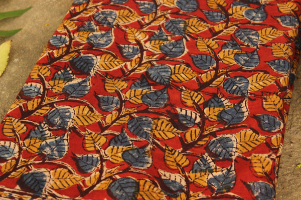Red kalamkari saree with overall hand block print in cotton. TCB-DCOT10-KAL