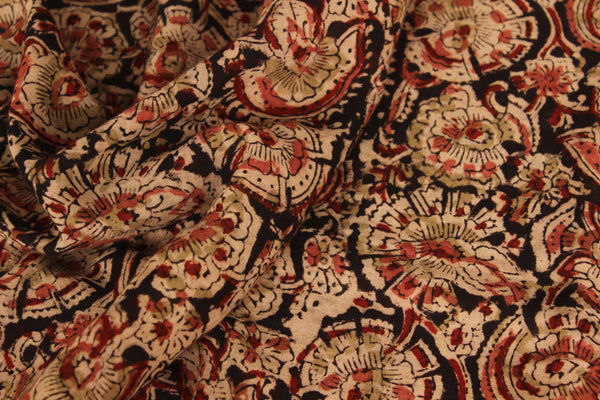 Black kalamkari saree with overall hand block print in cotton. TCB-DCOT12-KAL