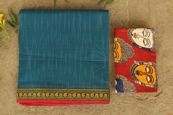 | Neel ( Blue) |  Handloom cotton saree with woven border. TCB-CSAR3-P16