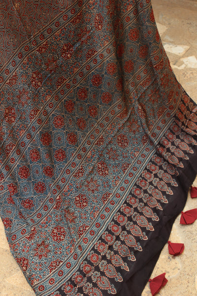 Black/Indigo Modal silk vegetable dyed Ajrakh saree.