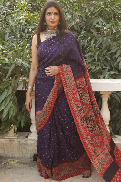 | Afternoons | Purple vegetable dyed Ajrakh saree with bandhani in cotton Silk.