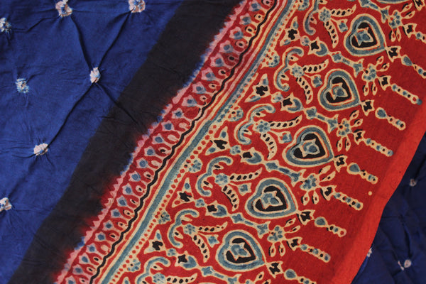 | Shaam | Blue vegetable dyed Ajrakh saree with bandhani in cotton Silk.
