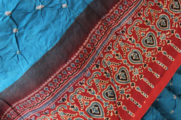| Paani| Light Blue vegetable dyed Ajrakh saree with bandhani in cotton Silk.