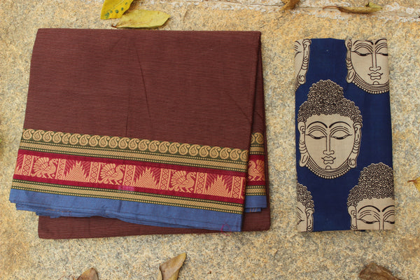 Brown Striped Cotton Saree with contrast Woven Border.