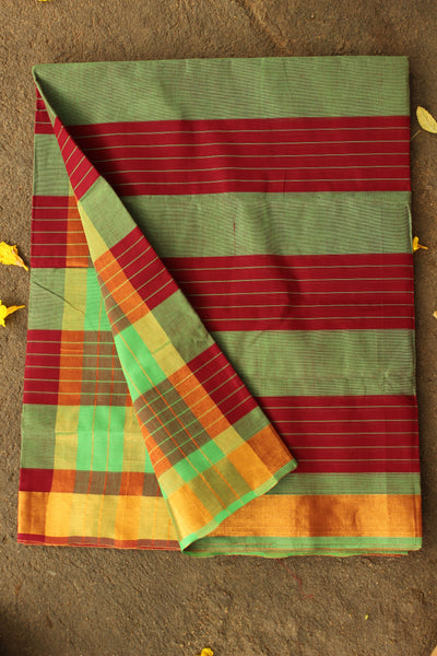 Maroon and green striped Venkatagiri cotton Saree With Zari Border RK-VENK-C15-5