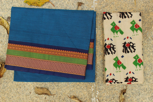 Blue Self Striped Cotton Saree with contrast Woven Border.