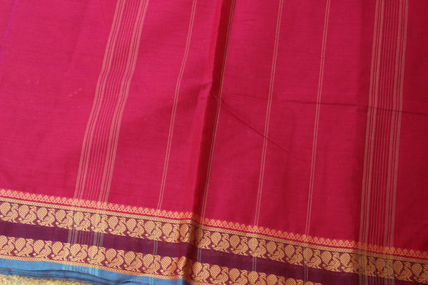 Jamuni Pink Cotton Saree with contrast Woven Border.
