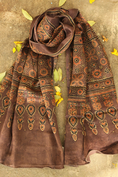 Coffee color Modal silk vegetable dyed Ajrakh stole. KCH-STOLE-8-C3