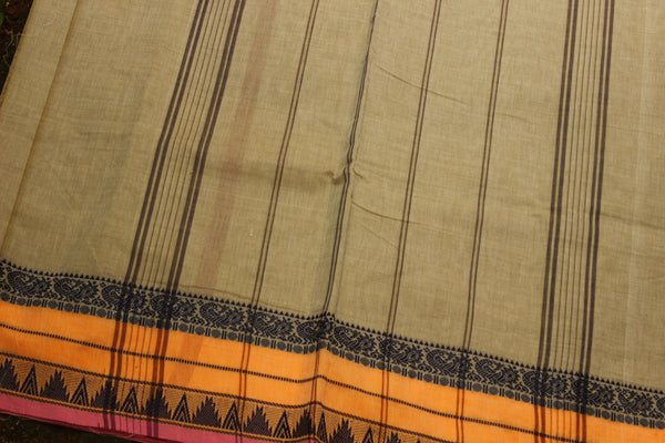 Grey Cotton Saree with contrast Woven Border.
