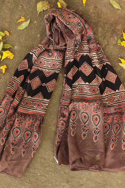Coffee color Modal silk vegetable dyed Ajrakh stole. KCH-STOLE-9-C3
