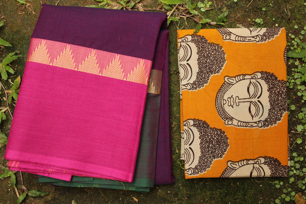 Purple Cotton Saree with contrast Ganga Jamuna Woven Border.