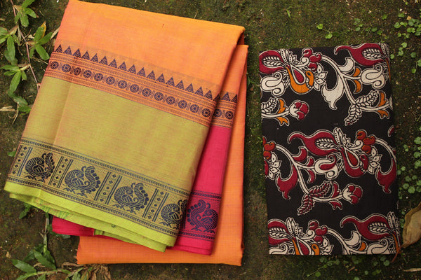 Peach Cotton Saree with contrast Ganga Jamuna Woven Border.