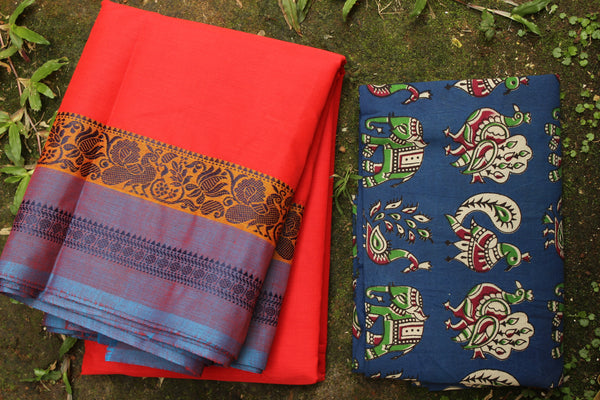 Red Cotton Saree with contrast Ganga Jamuna Woven Border.