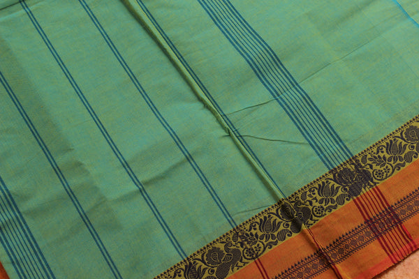 Mint Green Cotton Saree with contrast Woven Border.