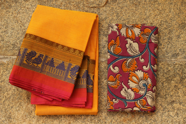Sunset Yellow Cotton Saree with contrast Woven Border.