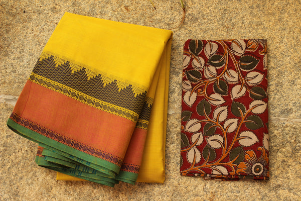 Yellow Cotton Saree with contrast Woven Border.