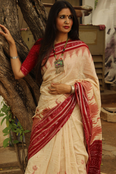 | Vivaah ( Wedding ) | Off White and red broad border Handwoven sambalpuri ikat saree in cotton.
